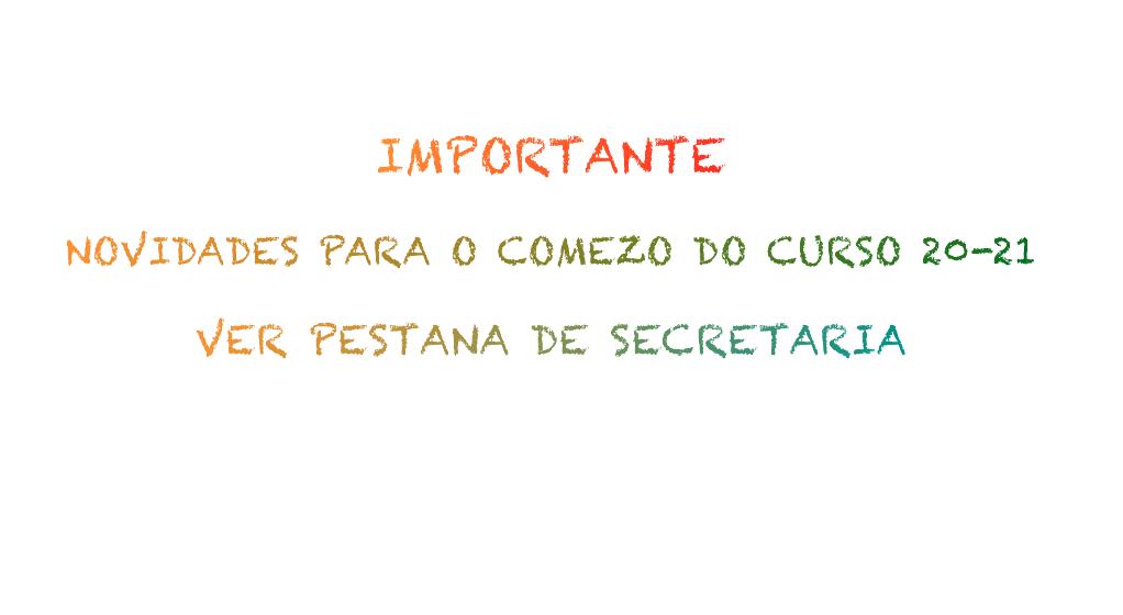 NOVIDADES PARA O COMEZO DO CURSO 20-21